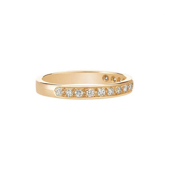 Vue Face - Bague L'Éternelle 2,5 mm en or rose 18k et diamants