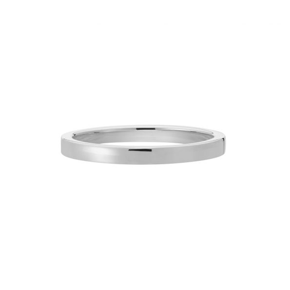 Vue Face - Bague La Contemporaine en or gris palladié 18k 2mm