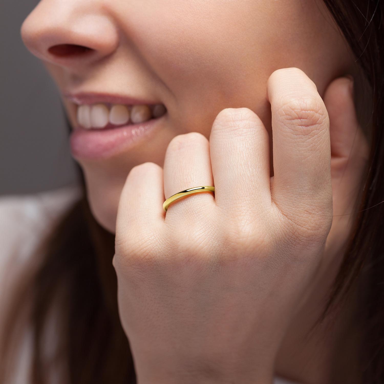 Bague La Jeanette en or jaune 18k 2mm avec visage