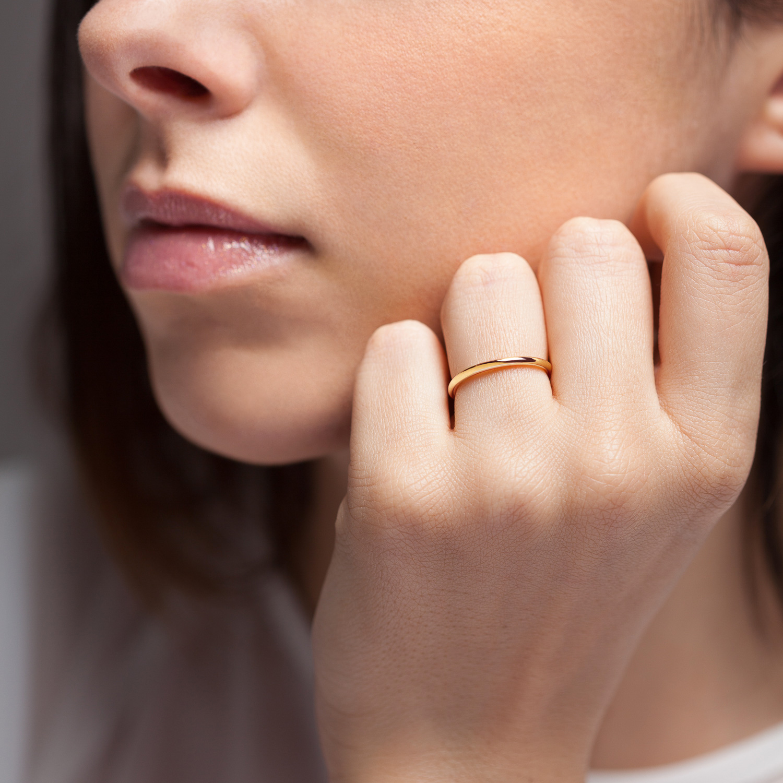Bague La Jeanette en or rose 18k 1,5mm avec visage