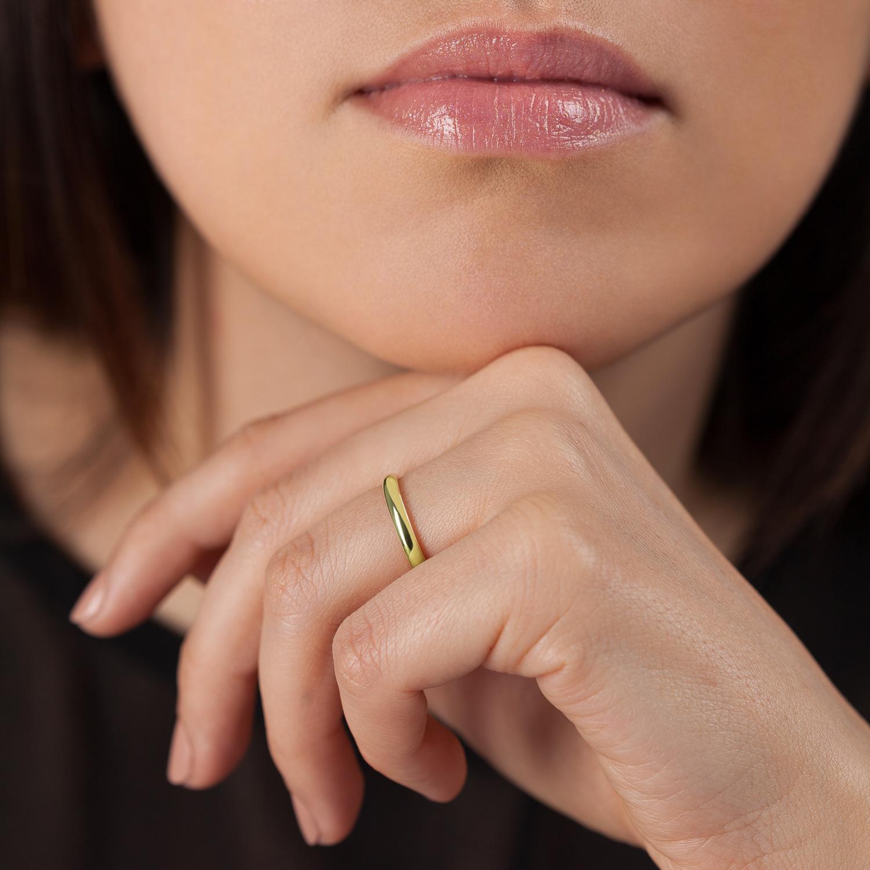 Bague La Parisienne en or jaune 18k 2,5mm avec visage