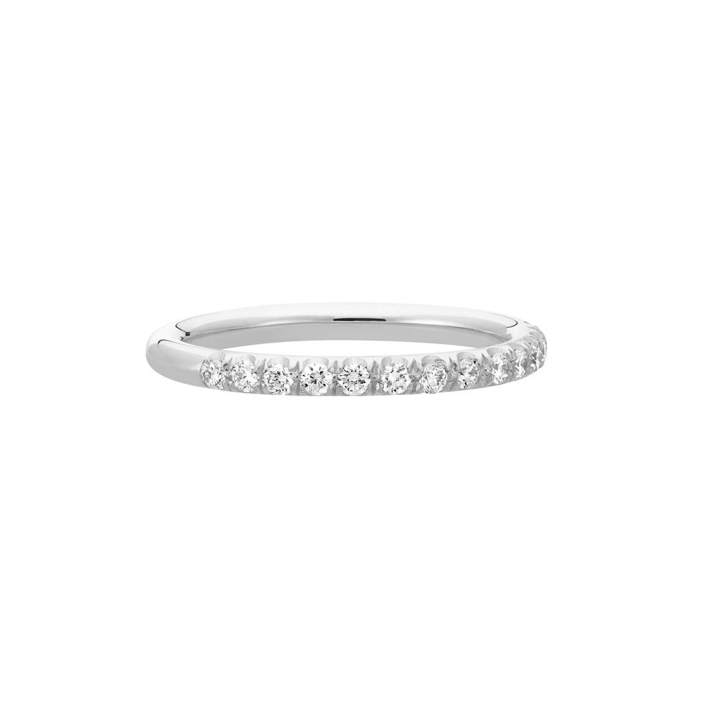 Vue Face - Bague La Poudrée en or gris palladié 18k 2 mm et demi-tour diamants