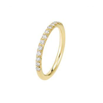 Bague La Poudrée en or jaune 18k 2 mm et demi-tour diamants