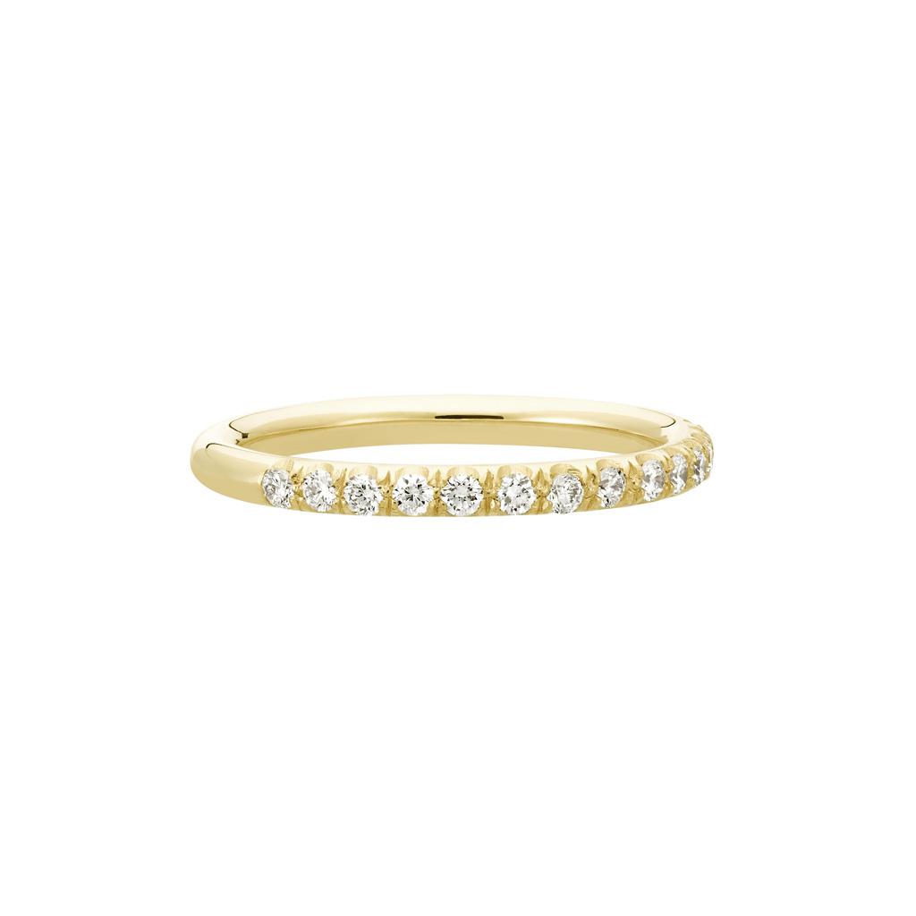 Vue Face - Bague La Poudrée en or jaune 18k 2 mm et demi-tour diamants