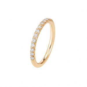 Bague La Poudrée en or rose 18k 2 mm et demi-tour diamants