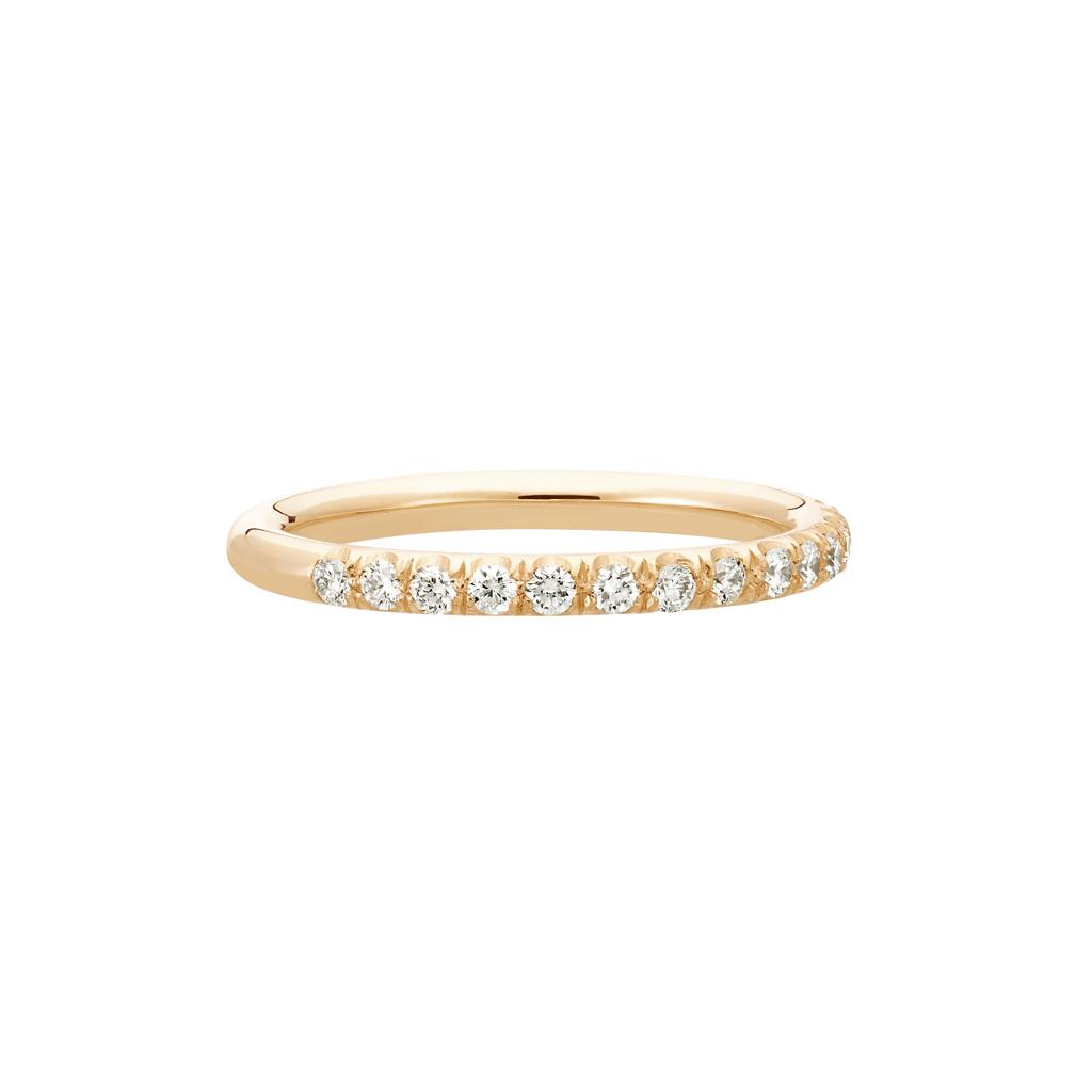 Vue Face - Bague La Poudrée en or rose 18k 2 mm et demi-tour diamants