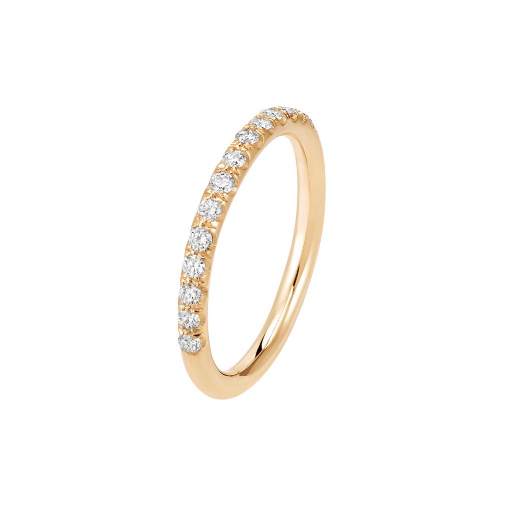 Bague La Poudrée en or rose 18k 2 mm et demi-tour diamants