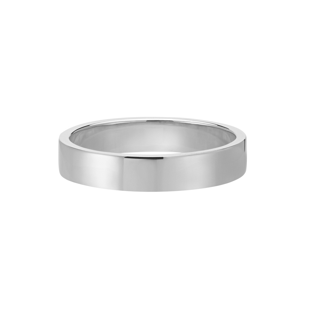 Vue Face - Bague Le Contemporain en or gris palladié 18k 4mm