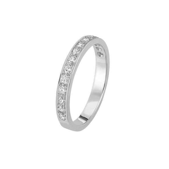Bague L'Éternelle en or gris palladié 18k 2,5 mm et demi-tour diamants