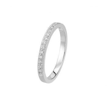 Bague L'Éternelle en or gris palladié 18k 2 mm et demi-tour diamants