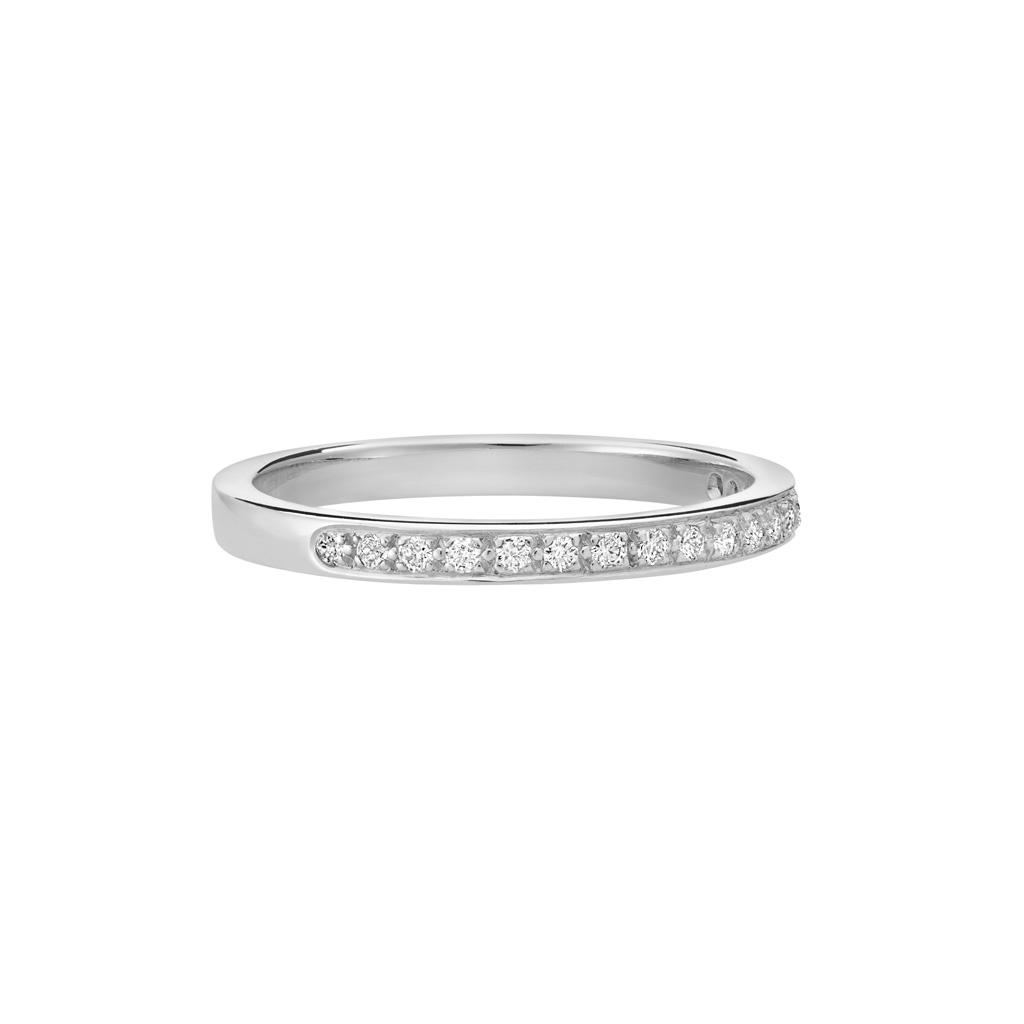 Vue Face - Bague L'Éternelle en or gris palladié 18k 2 mm et demi-tour diamants