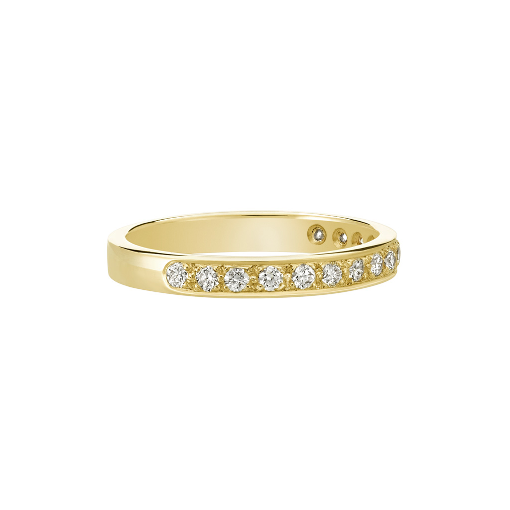 Vue Face - Bague L'Éternelle 2,5 mm en or jaune 18k et diamants