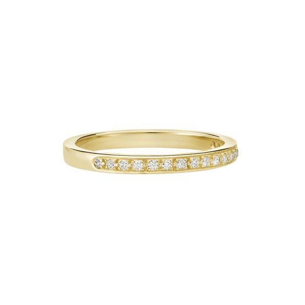 Vue Face - Bague L'Éternelle 2 mm en or jaune 18k et diamants