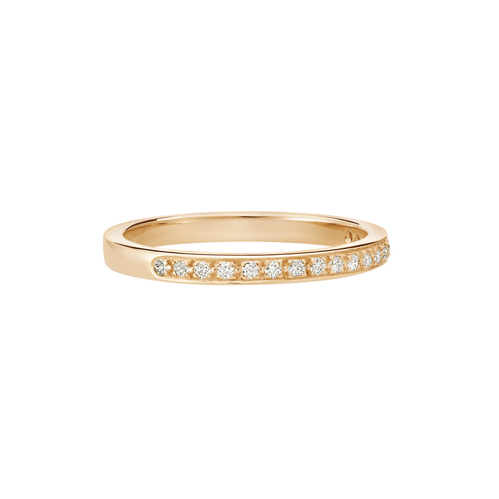 Vue Face - Bague L'Éternelle 2 mm en or rose 18k et diamants