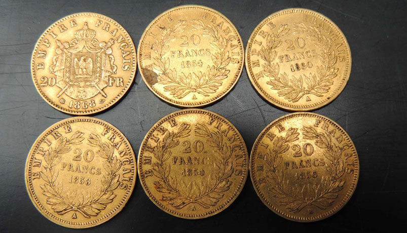 Pièces d'or Napoléon et 20 francs